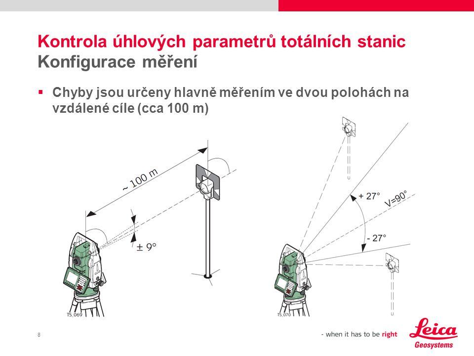 9 Rozdíly od totálních stanic Odlišný způsob měření  Jsou potřeba 2 terče:  Vzdálenost : ~ 20 m  Blízko vodorovné roviny  Ve vysokém výškovém úhlu  Odchylka laserového paprsku je při měření ve dvou polohách znatelná pouze částečně  Je zapotřebí sofistikovaný postup!