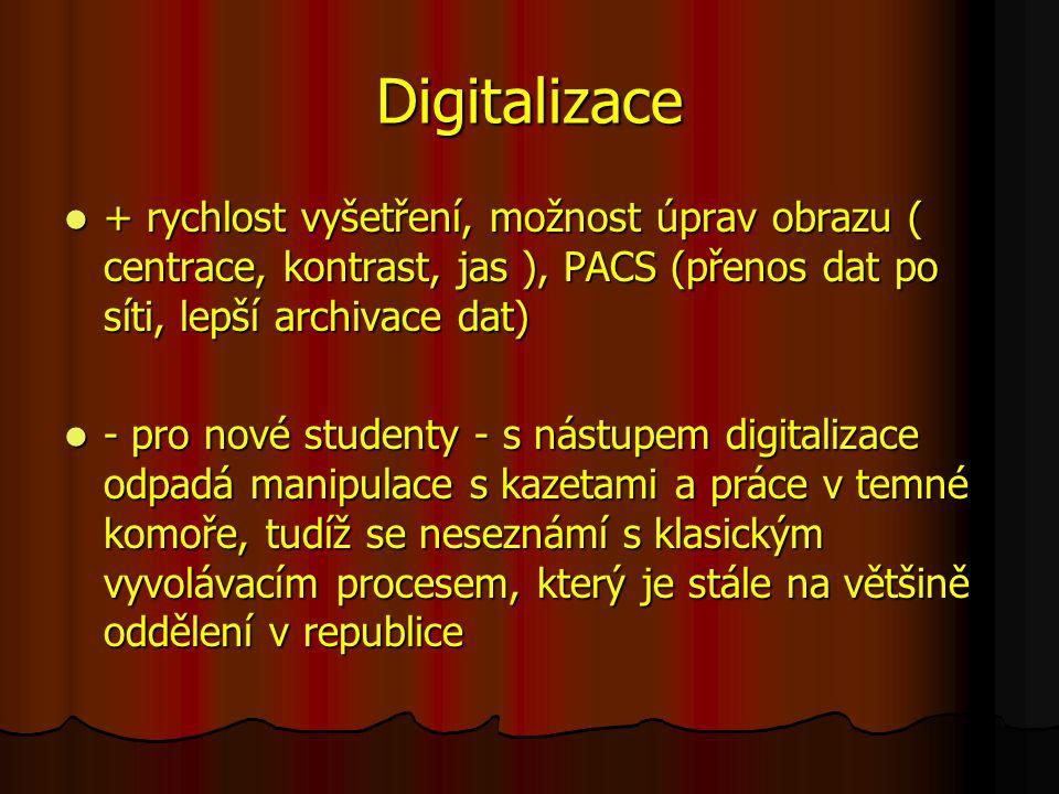 Digitalizace + rychlost vyšetření, možnost úprav obrazu ( centrace, kontrast, jas ), PACS (přenos dat po síti, lepší archivace dat) + rychlost vyšetření, možnost úprav obrazu ( centrace, kontrast, jas ), PACS (přenos dat po síti, lepší archivace dat) - pro nové studenty - s nástupem digitalizace odpadá manipulace s kazetami a práce v temné komoře, tudíž se neseznámí s klasickým vyvolávacím procesem, který je stále na většině oddělení v republice - pro nové studenty - s nástupem digitalizace odpadá manipulace s kazetami a práce v temné komoře, tudíž se neseznámí s klasickým vyvolávacím procesem, který je stále na většině oddělení v republice