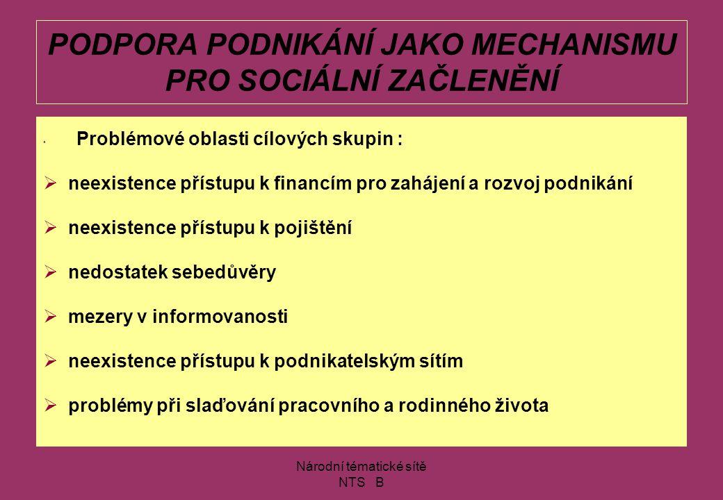 Národní tématické sítě NTS B PODPORA PODNIKÁNÍ JAKO MECHANISMU PRO SOCIÁLNÍ ZAČLENĚNÍ Moravská asociace podnikatelek a manažerek (MAPM) www.mapm.cz/equal e-mail: centrala@mapm.czcentrala@mapm.cz nechvatalova@mapm.cz