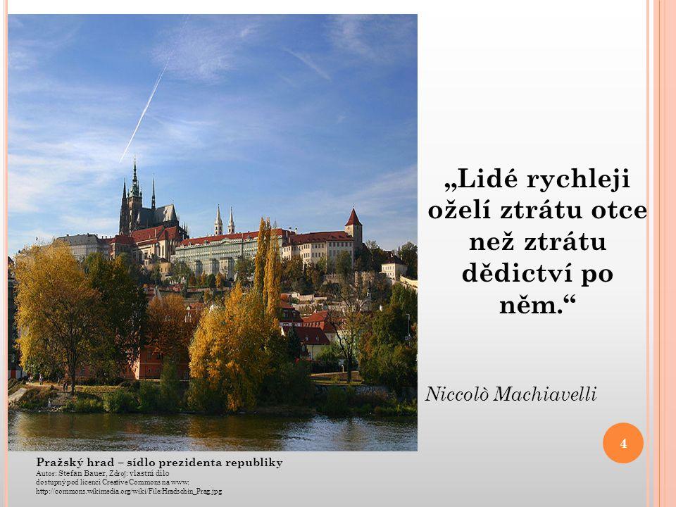 Pražský hrad – sídlo prezidenta republiky Autor: Stefan Bauer, Zdroj: vlastní dílo dostupný pod licencí Creative Commons na www: http://commons.wikime