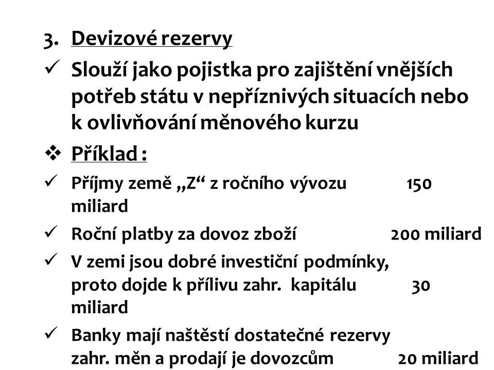 3.Devizové rezervy Slouží jako pojistka pro zajištění vnějších potřeb státu v nepříznivých situacích nebo k ovlivňování měnového kurzu  Příklad : Pří