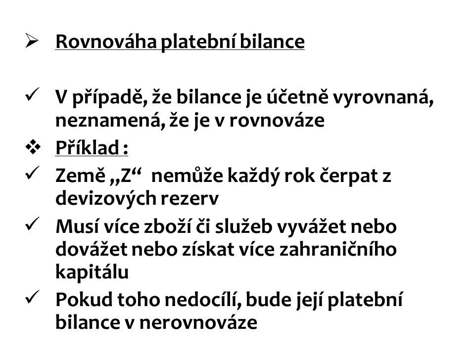 """ Rovnováha platební bilance V případě, že bilance je účetně vyrovnaná, neznamená, že je v rovnováze  Příklad : Země """"Z"""" nemůže každý rok čerpat z de"""