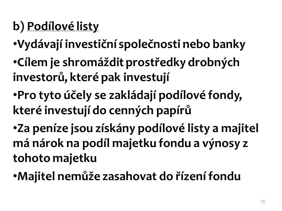 b) Podílové listy Vydávají investiční společnosti nebo banky Cílem je shromáždit prostředky drobných investorů, které pak investují Pro tyto účely se
