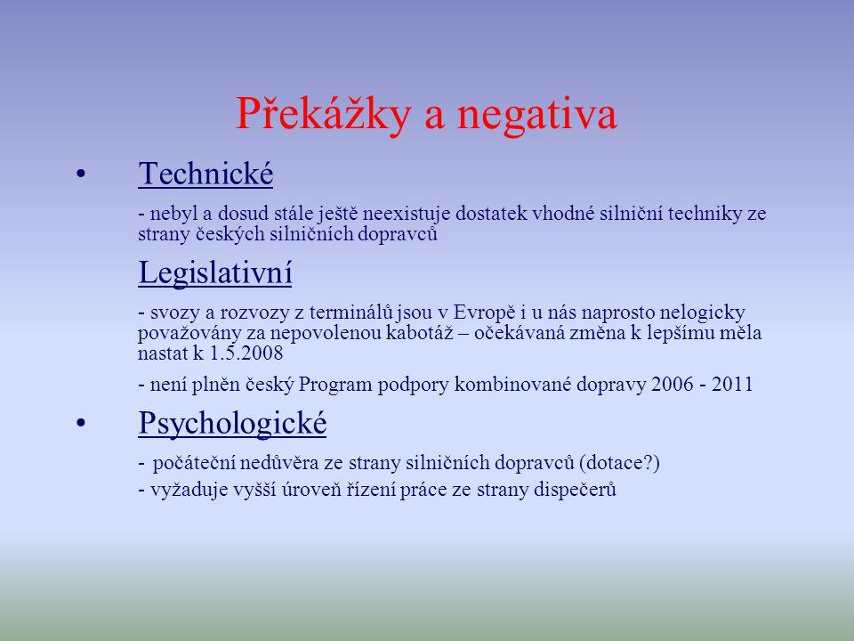 Překážky a negativa Technické - nebyl a dosud stále ještě neexistuje dostatek vhodné silniční techniky ze strany českých silničních dopravců Legislativní - svozy a rozvozy z terminálů jsou v Evropě i u nás naprosto nelogicky považovány za nepovolenou kabotáž – očekávaná změna k lepšímu měla nastat k 1.5.2008 - není plněn český Program podpory kombinované dopravy 2006 - 2011 Psychologické - počáteční nedůvěra ze strany silničních dopravců (dotace ) - vyžaduje vyšší úroveň řízení práce ze strany dispečerů