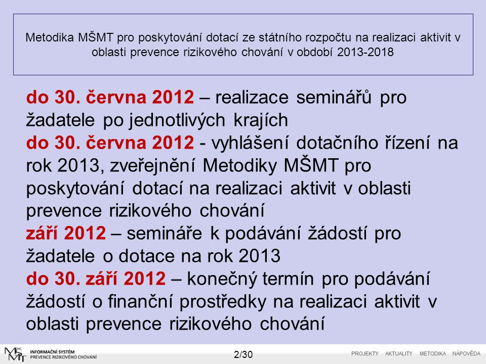 Metodika MŠMT pro poskytování dotací ze státního rozpočtu na realizaci aktivit v oblasti prevence rizikového chování v období 2013-2018 3/30 říjen 2012 – formální hodnocení úplnosti a správností žádostí o dotace listopad 2012 – odborné (věcné) hodnocení žádostí odbornými hodnotiteli listopad 2012 – zveřejnění podmínek vyúčtování dotací MŠMT za rok 2012 prosinec 2012 – jednání dotační komise MŠMT prosinec 2012 – jednání MŠMT o udělení dotací na rok 2013