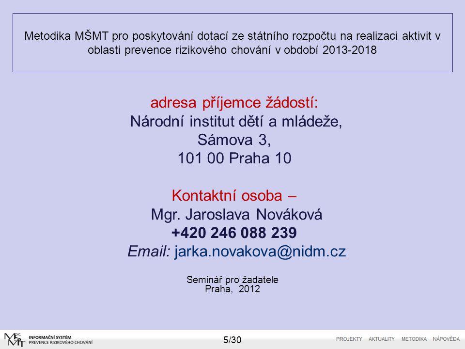 Metodika MŠMT pro poskytování dotací ze státního rozpočtu na realizaci aktivit v oblasti prevence rizikového chování v období 2013-2018 Seminář pro žadatele Praha, 2012 16/30 Ostatní limity – služby – max.