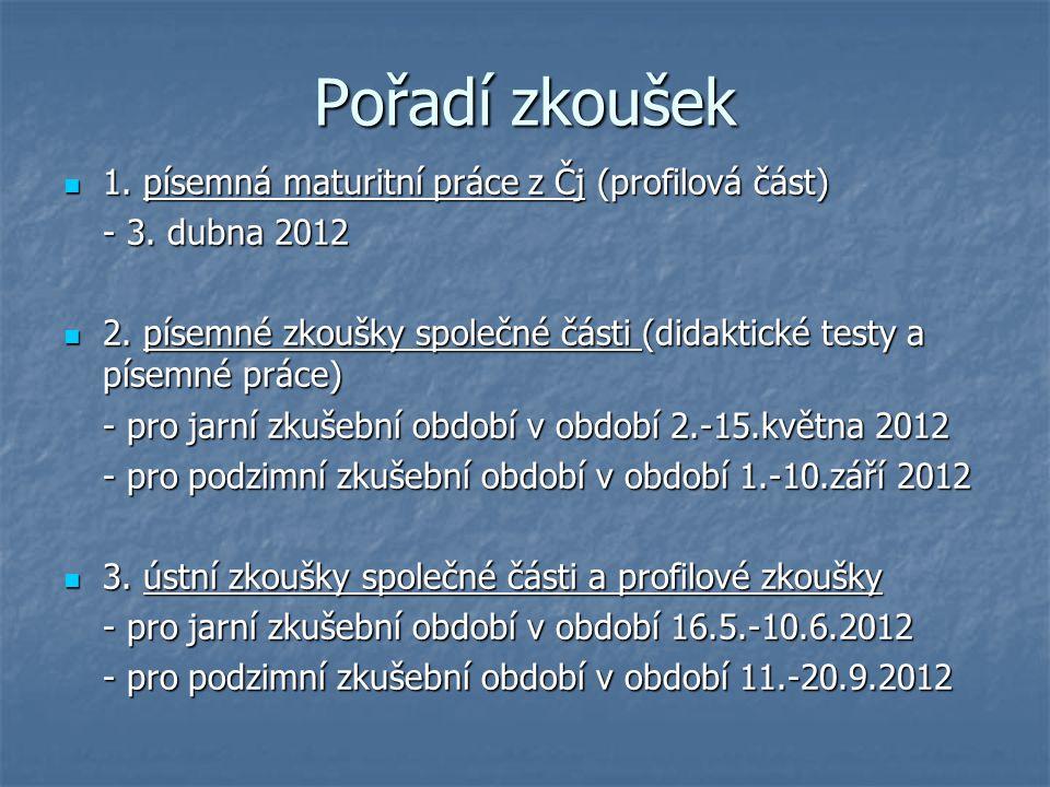 Pořadí zkoušek 1.písemná maturitní práce z Čj (profilová část) 1.