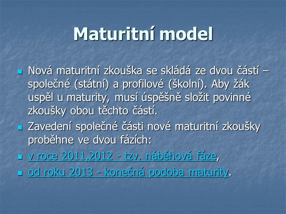 Maturitní model Nová maturitní zkouška se skládá ze dvou částí – společné (státní) a profilové (školní).
