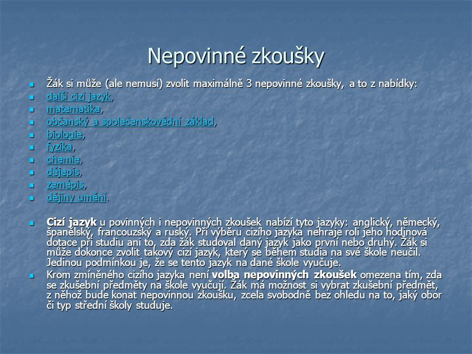 Profilová část 2012 Profilová část je plně v kompetenci ředitele školy.