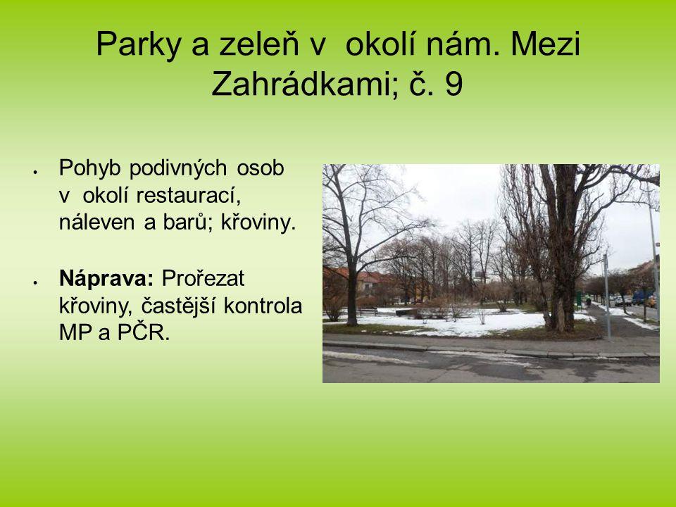 Parky a zeleň v okolí nám. Mezi Zahrádkami; č.