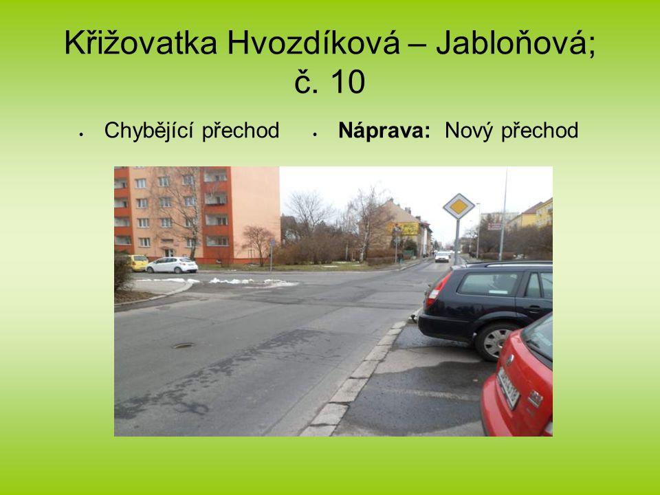 Křižovatka Hvozdíková – Jabloňová; č. 10  Chybějící přechod  Náprava: Nový přechod