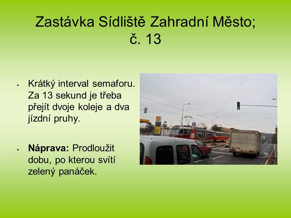 Zastávka Sídliště Zahradní Město; č. 13  Krátký interval semaforu.