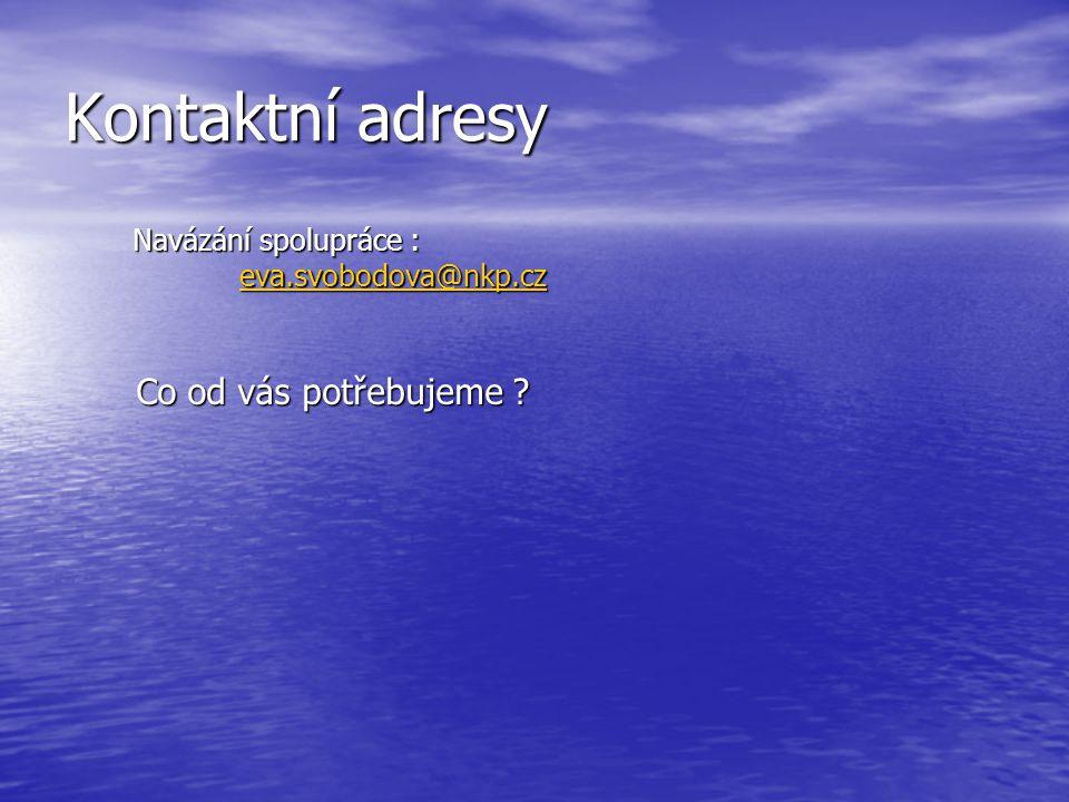Kontaktní adresy Navázání spolupráce : eva.svobodova@nkp.cz Co od vás potřebujeme .