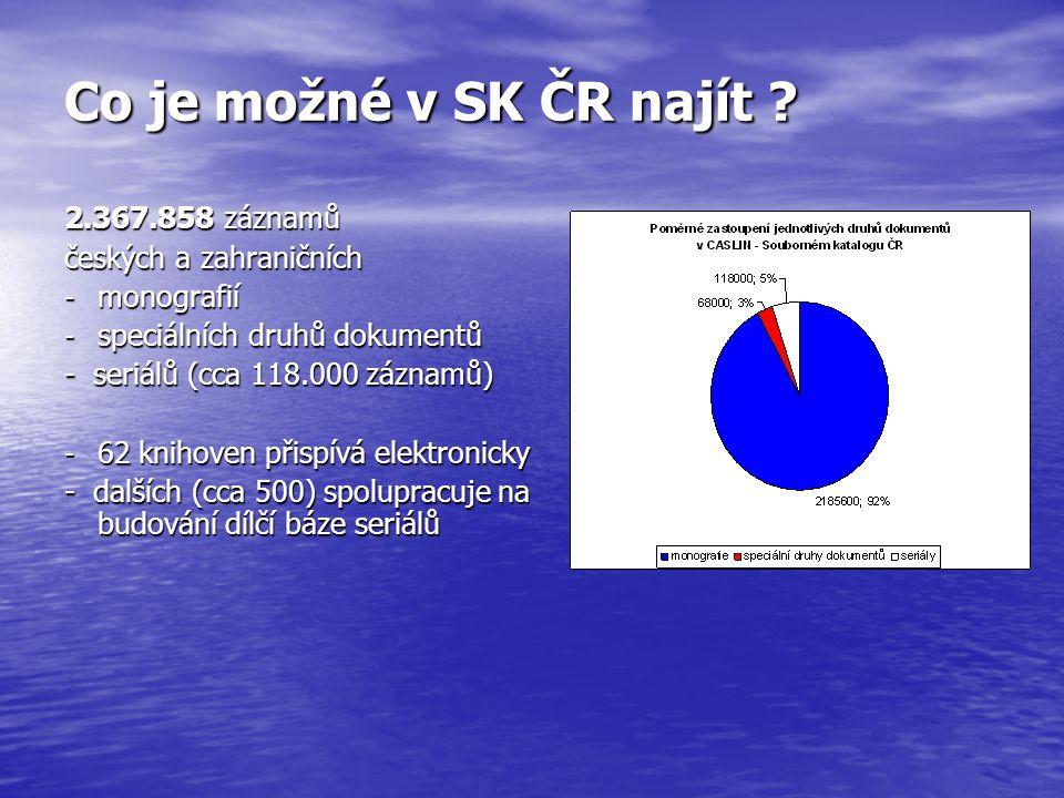 SK ČR – dílčí báze seriálů více než 118.000 titulů českých a zahraničních seriálů více než 118.