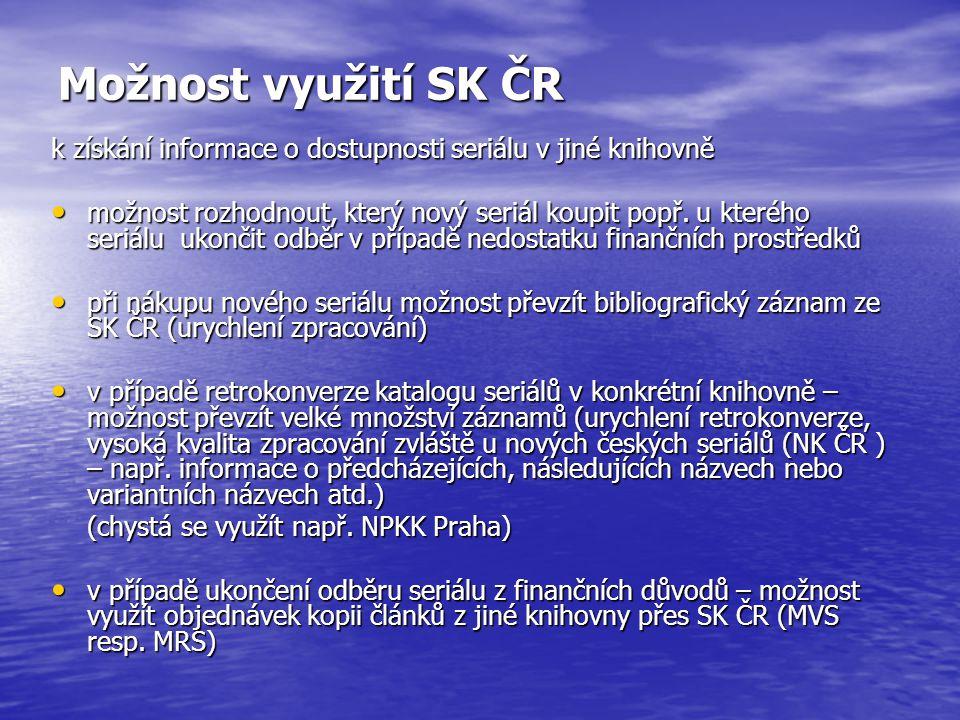 """Najděte v SK ČR dílo, které chcete objednat a klikněte na nabídku """"služby pro knihovny … dostanete se tak k možnosti odeslat požadavek MVS …"""