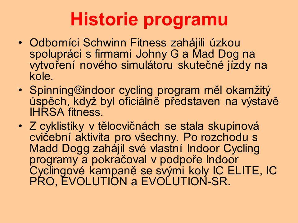 Historie programu Odborníci Schwinn Fitness zahájili úzkou spolupráci s firmami Johny G a Mad Dog na vytvoření nového simulátoru skutečné jízdy na kole.