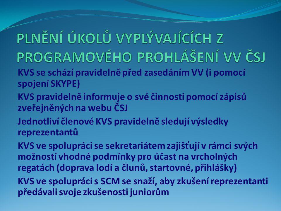 KVS se schází pravidelně před zasedáním VV (i pomocí spojení SKYPE) KVS pravidelně informuje o své činnosti pomocí zápisů zveřejněných na webu ČSJ Jednotliví členové KVS pravidelně sledují výsledky reprezentantů KVS ve spolupráci se sekretariátem zajišťují v rámci svých možností vhodné podmínky pro účast na vrcholných regatách (doprava lodí a člunů, startovné, přihlášky) KVS ve spolupráci s SCM se snaží, aby zkušení reprezentanti předávali svoje zkušenosti juniorům