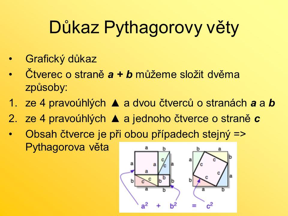 Důkaz Pythagorovy věty Grafický důkaz Čtverec o straně a + b můžeme složit dvěma způsoby: 1.ze 4 pravoúhlých ▲ a dvou čtverců o stranách a a b 2.ze 4