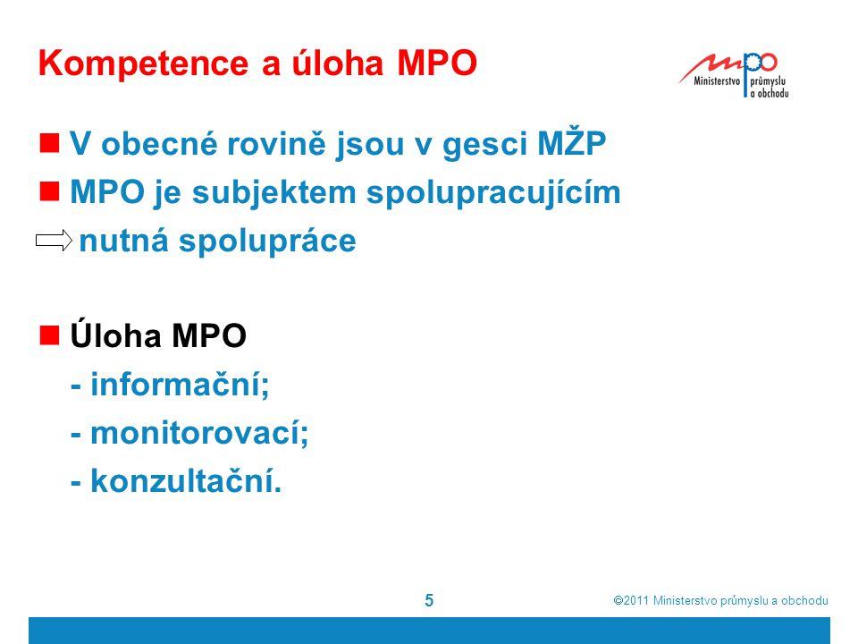 2011  Ministerstvo průmyslu a obchodu 5 Kompetence a úloha MPO V obecné rovině jsou v gesci MŽP MPO je subjektem spolupracujícím nutná spolupráce Úloha MPO - informační; - monitorovací; - konzultační.