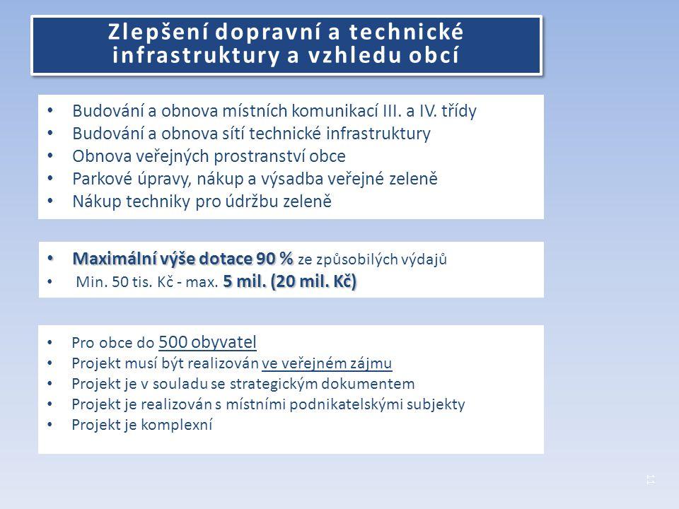 Budování a obnova místních komunikací III. a IV.