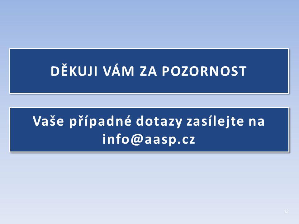 DĚKUJI VÁM ZA POZORNOST Vaše případné dotazy zasílejte na info@aasp.cz Vaše případné dotazy zasílejte na info@aasp.cz 12