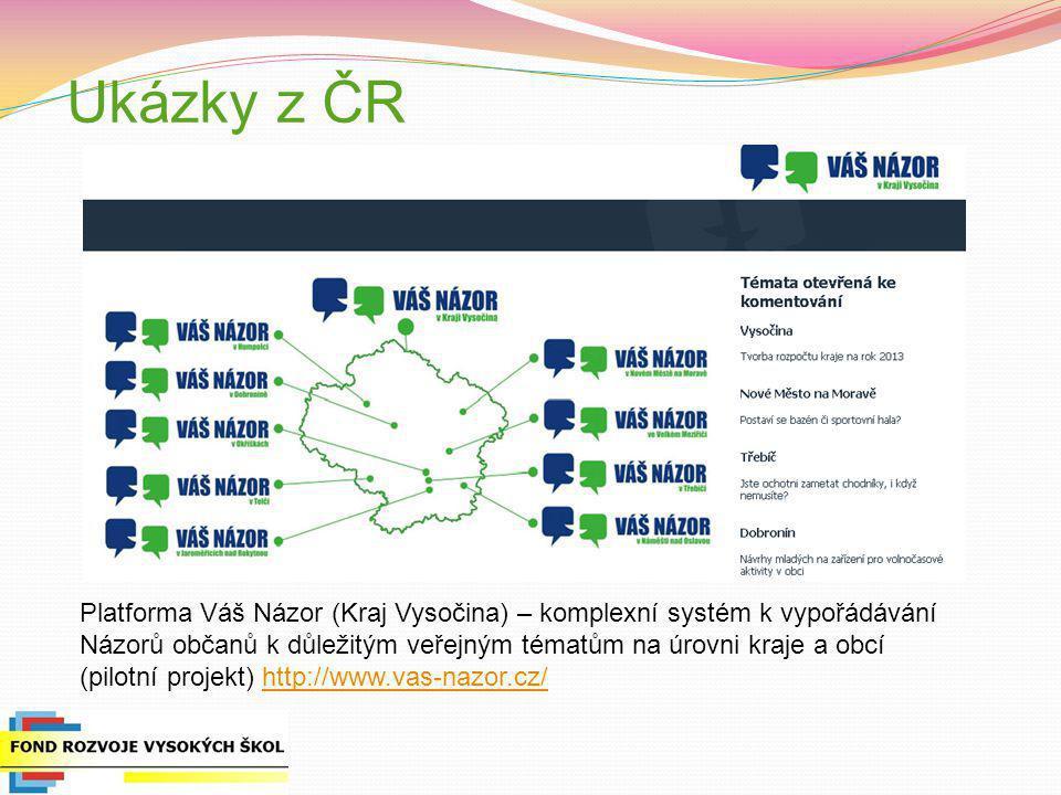 Ukázky z ČR Platforma Váš Názor (Kraj Vysočina) – komplexní systém k vypořádávání Názorů občanů k důležitým veřejným tématům na úrovni kraje a obcí (p