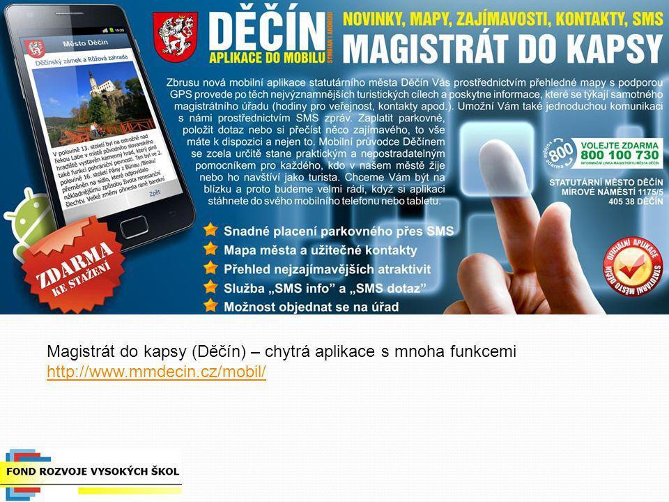 Magistrát do kapsy (Děčín) – chytrá aplikace s mnoha funkcemi http://www.mmdecin.cz/mobil/