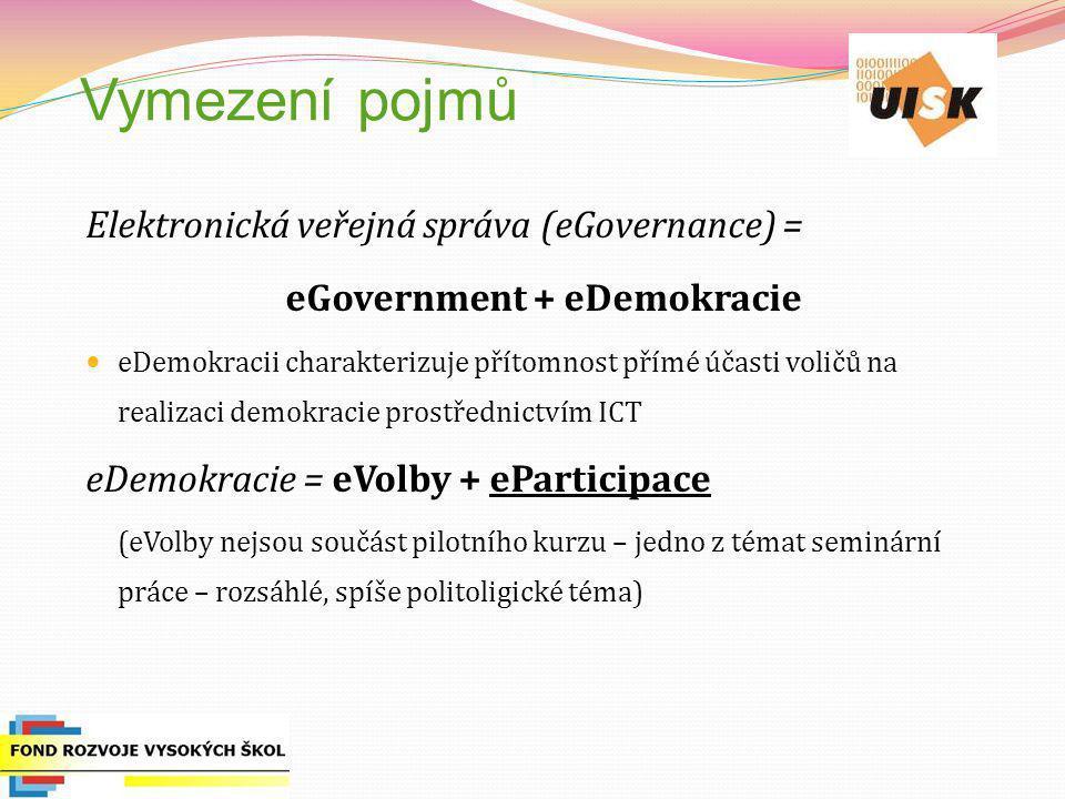 Vymezení pojmů Elektronická veřejná správa (eGovernance) = eGovernment + eDemokracie eDemokracii charakterizuje přítomnost přímé účasti voličů na real