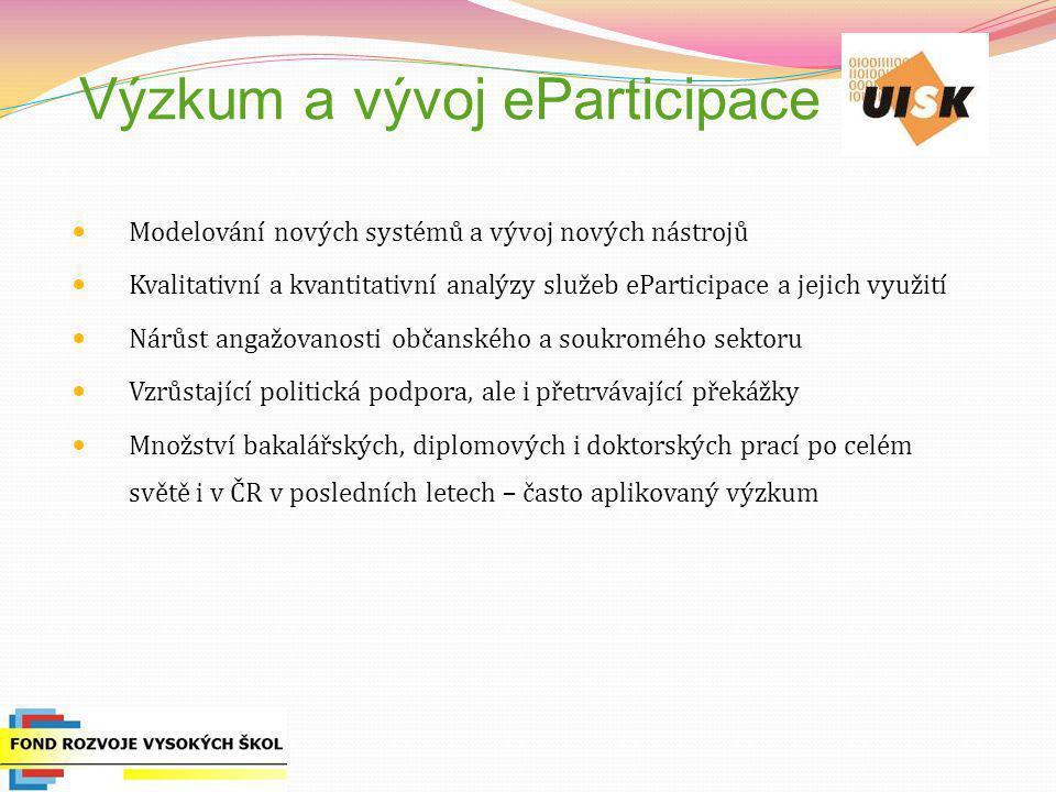 Výzkum a vývoj eParticipace Modelování nových systémů a vývoj nových nástrojů Kvalitativní a kvantitativní analýzy služeb eParticipace a jejich využit