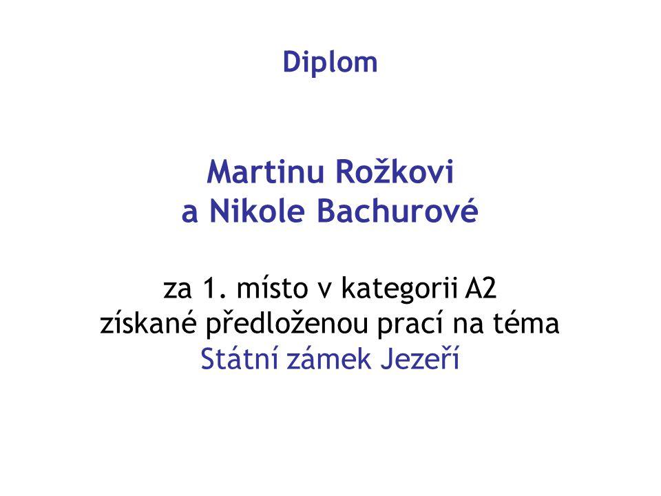 Diplom Martinu Rožkovi a Nikole Bachurové za 1.