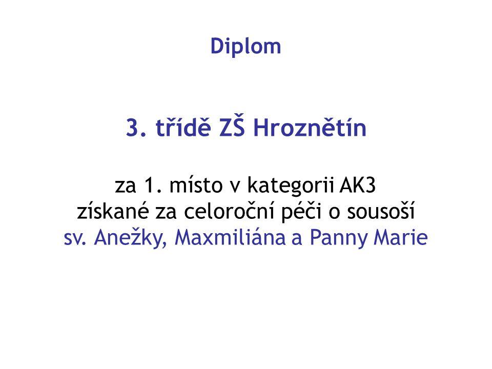 Diplom 3.třídě ZŠ Hroznětín za 1. místo v kategorii AK3 získané za celoroční péči o sousoší sv.