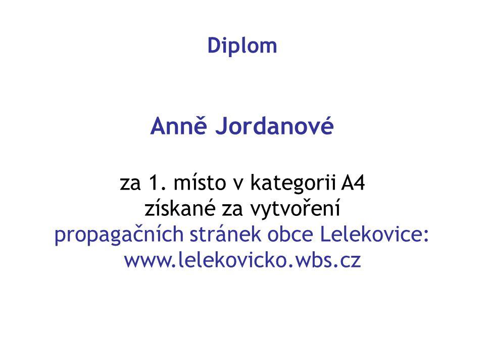 Diplom Anně Jordanové za 1.
