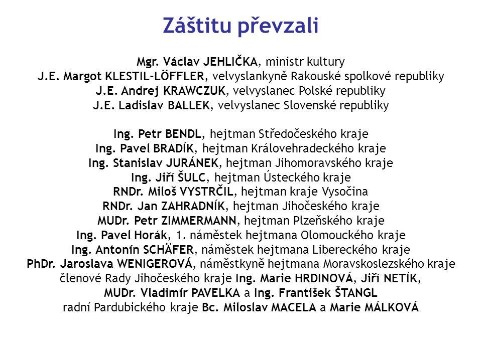 Záštitu převzali Mgr.Václav JEHLIČKA, ministr kultury J.E.