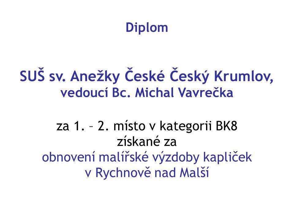 Diplom SUŠ sv.Anežky České Český Krumlov, vedoucí Bc.