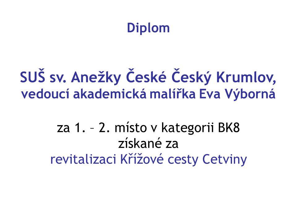 Diplom SUŠ sv.Anežky České Český Krumlov, vedoucí akademická malířka Eva Výborná za 1.