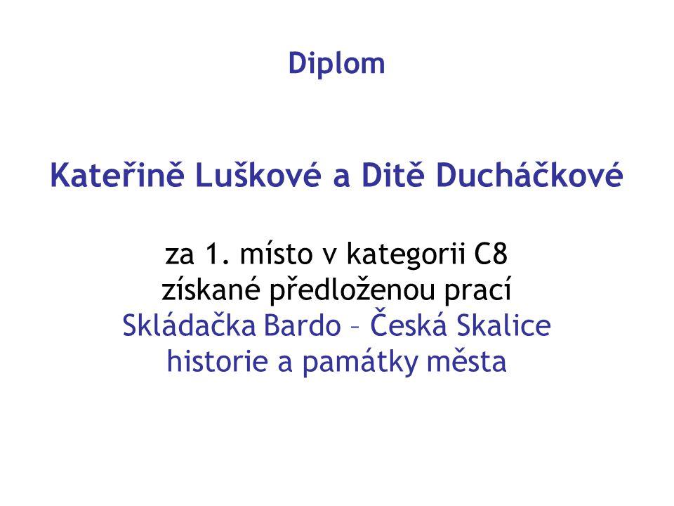 Diplom Kateřině Luškové a Ditě Ducháčkové za 1.