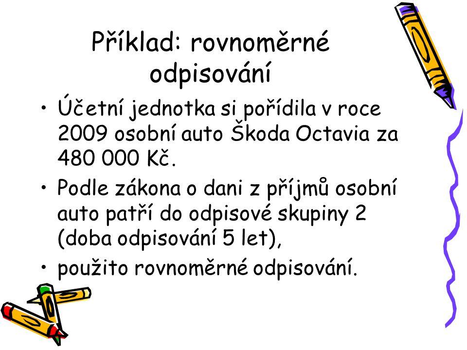 Příklad: rovnoměrné odpisování Účetní jednotka si pořídila v roce 2009 osobní auto Škoda Octavia za 480 000 Kč. Podle zákona o dani z příjmů osobní au