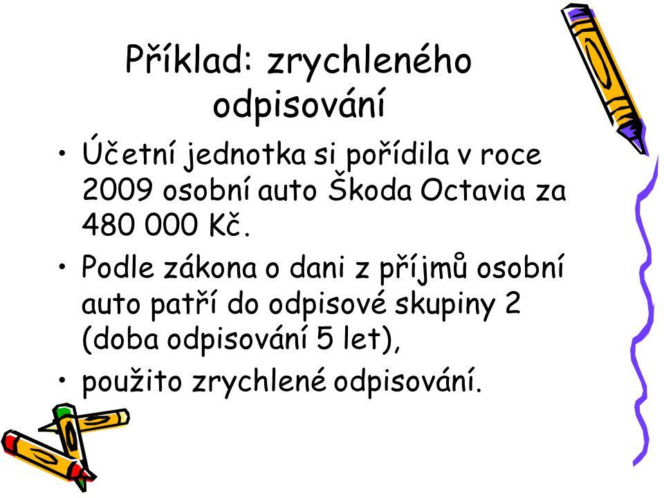 Příklad: zrychleného odpisování Účetní jednotka si pořídila v roce 2009 osobní auto Škoda Octavia za 480 000 Kč. Podle zákona o dani z příjmů osobní a