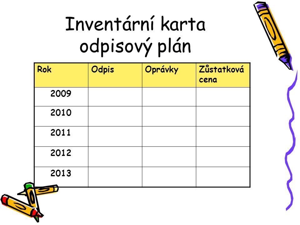 RokOdpisOprávkyZůstatková cena 2009 2010 2011 2012 2013 Inventární karta odpisový plán