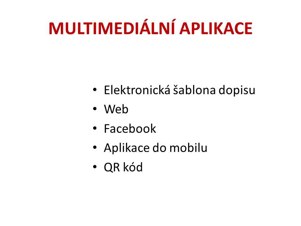 MULTIMEDIÁLNÍ APLIKACE Elektronická šablona dopisu Web Facebook Aplikace do mobilu QR kód