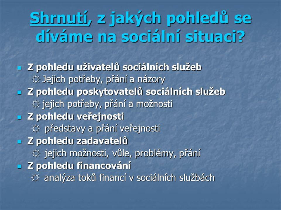 Shrnutí, z jakých pohledů se díváme na sociální situaci.