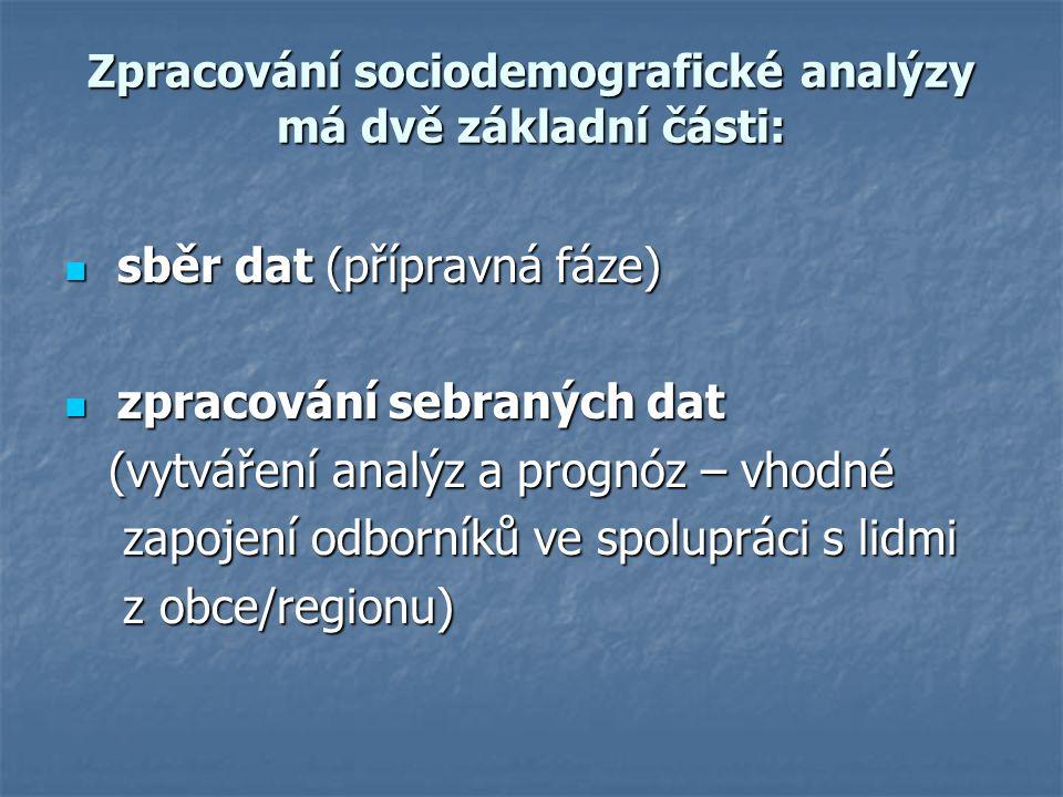 Zpracování sociodemografické analýzy má dvě základní části: sběr dat (přípravná fáze) sběr dat (přípravná fáze) zpracování sebraných dat zpracování sebraných dat (vytváření analýz a prognóz – vhodné (vytváření analýz a prognóz – vhodné zapojení odborníků ve spolupráci s lidmi zapojení odborníků ve spolupráci s lidmi z obce/regionu) z obce/regionu)