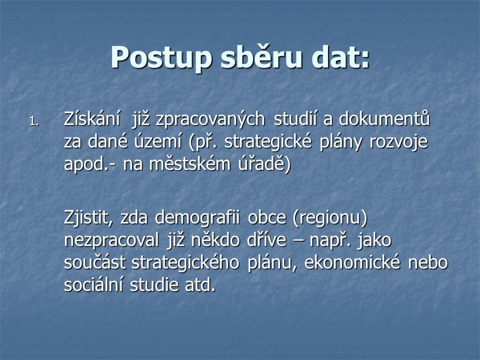 Postup sběru dat: 1. Získání již zpracovaných studií a dokumentů za dané území (př.