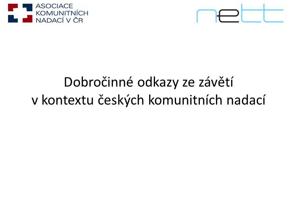 Dobročinné odkazy ze závětí v kontextu českých komunitních nadací
