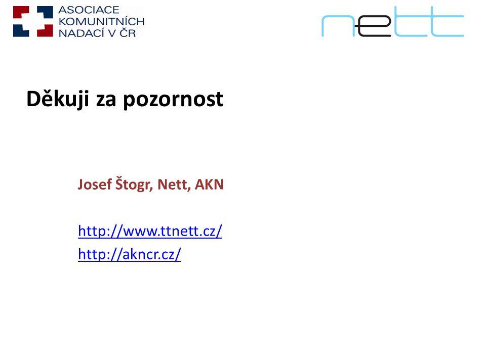 Děkuji za pozornost Josef Štogr, Nett, AKN http://www.ttnett.cz/ http://akncr.cz/