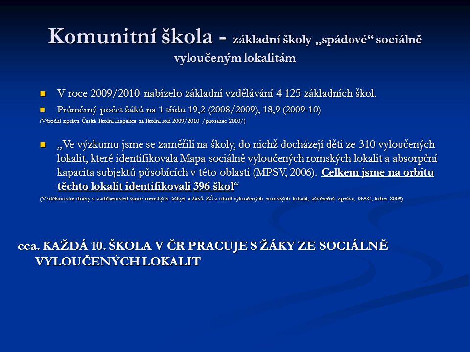 """Komunitní škola - základní školy """"spádové"""" sociálně vyloučeným lokalitám V roce 2009/2010 nabízelo základní vzdělávání 4 125 základních škol. V roce 2"""
