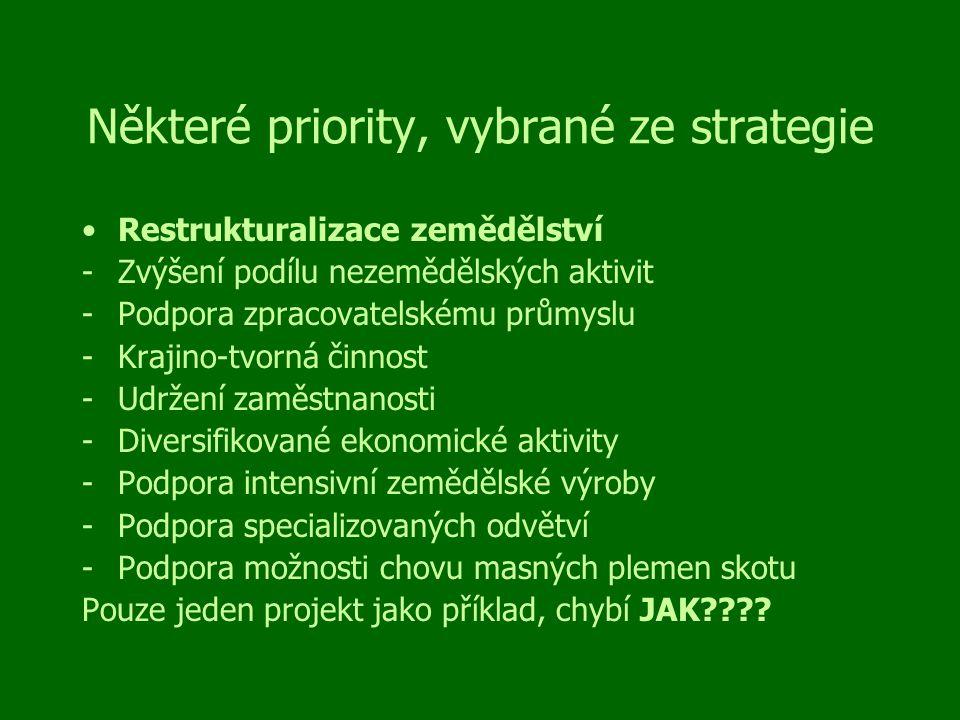 Některé priority, vybrané ze strategie Restrukturalizace zemědělství -Zvýšení podílu nezemědělských aktivit -Podpora zpracovatelskému průmyslu -Krajino-tvorná činnost -Udržení zaměstnanosti -Diversifikované ekonomické aktivity -Podpora intensivní zemědělské výroby -Podpora specializovaných odvětví -Podpora možnosti chovu masných plemen skotu Pouze jeden projekt jako příklad, chybí JAK