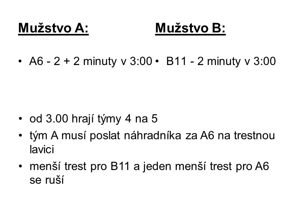 Mužstvo A: Mužstvo B: A6 - 2 + 2 minuty v 3:00B11 - 2 minuty v 3:00 od 3.00 hrají týmy 4 na 5 tým A musí poslat náhradníka za A6 na trestnou lavici menší trest pro B11 a jeden menší trest pro A6 se ruší