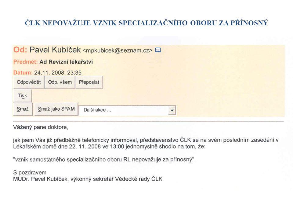 ČLS JEP SE ODVOLÁVÁ NA MZ ČR