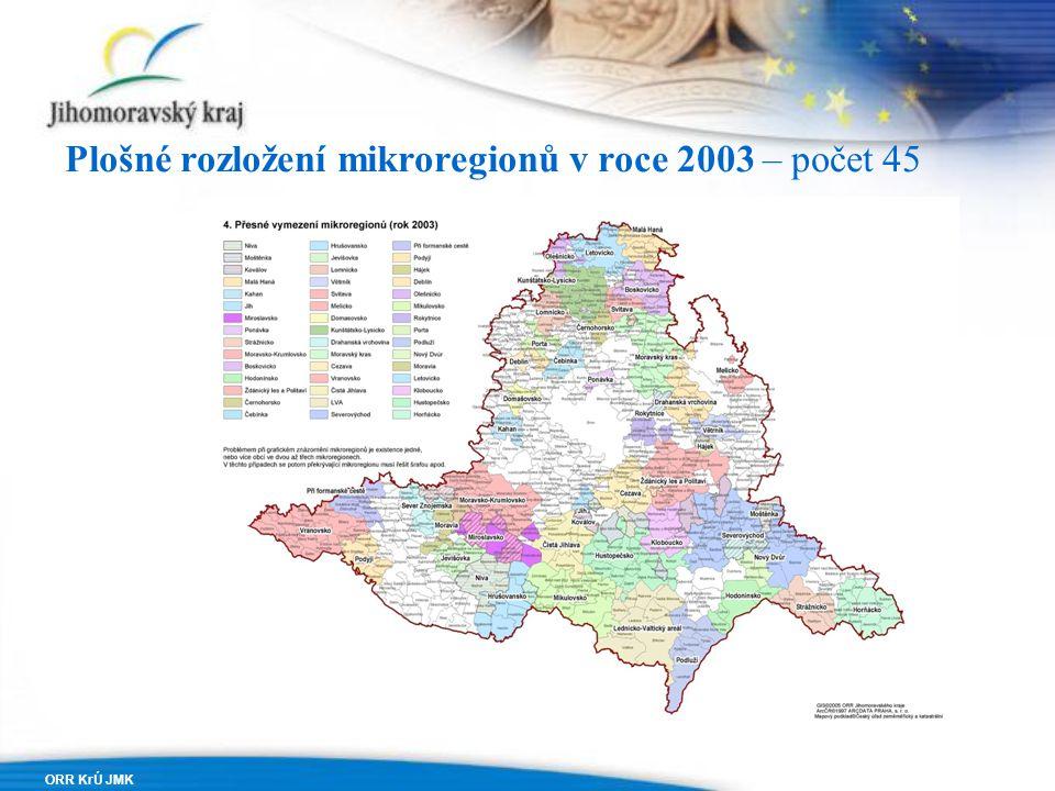 ORR KrÚ JMK Plošné rozložení mikroregionů v roce 2003 – počet 45
